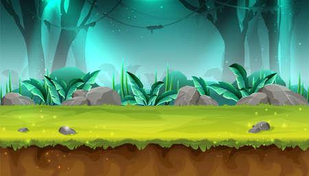 Vector cartoon style seamless mystery rain forest illustration for game design, app, websites. Vektorové ilustrace
