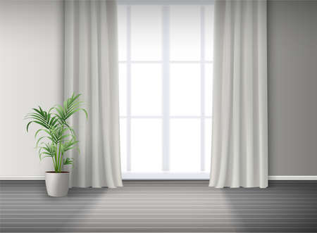 3d realistic vector room interior with big window with light and curtains and potted plant on the floor. Vektorové ilustrace