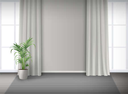 3d realistic vector room interior with two big windows with light and curtains and potted plant on the floor.