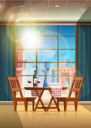 Vector cartoon style restaurant with romantic table set up with red wine bottle and glasses with rose vase and sign reserved.