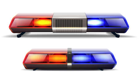 3d realistic vector set of two police car top lights in red and blue. Isolated on white background. Vector Illustration