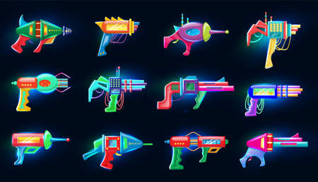 Collection of neon vector cartoon style flat illustration of futuristic colorful blasters glowing in the dark.