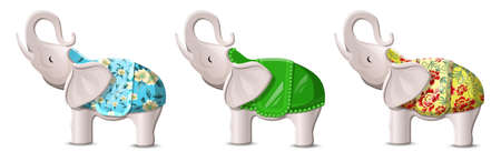 Vector cartoon flat style lucky elephants with lifted up trunks. Isolated on white background illustration. Vetores