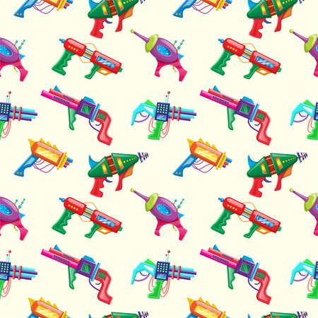 Vector cartoon style seamless pattern of kids colorful blasters.