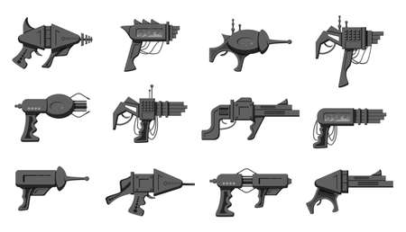 Collection of black and white silhouette vector cartoon style flat illustration of futuristic blasters isolated on white background.