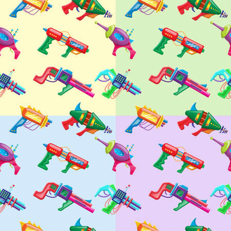 Four color vector cartoon style seamless pattern of kids colorful blasters.