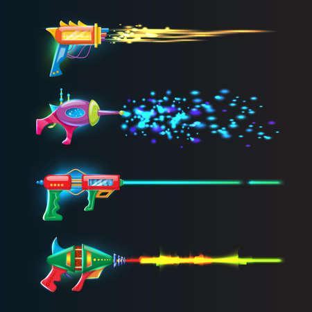Vector cartoon style set of colorful glowing in dark neon blasters with glowing shoot rays. Vektorgrafik