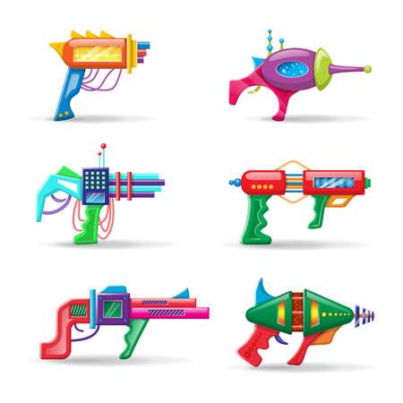 Vector cartoon style flat illustration of futuristic colorful blasters isolated on white background. Vektorgrafik