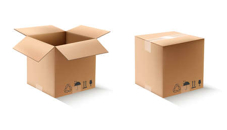 3d realistic vector carton square boxes in open and closed view. Isolated icon illustration on white background.