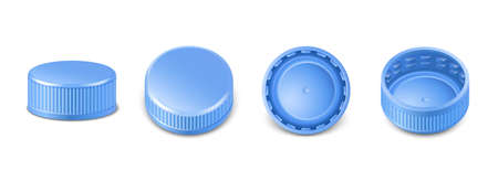 3d realistic collection of blue plastic bottle caps in side, top and bottom view. Mockup with pet screw lids for water, beer, cider of soda. Isolated icon illustration. Ilustración de vector
