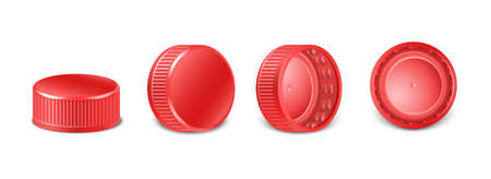 3d realistic collection of red plastic bottle caps in side, top and bottom view. Mockup with pet screw lids for water, beer, cider of soda. Isolated icon illustration.