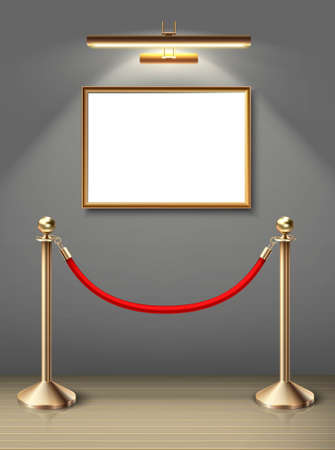 3d realistic vector exhibition museum mock up painting on the wall in horizontal positioning with spot light and red barrier. Blank space for you design. Realistic wooden floor and sunlight.