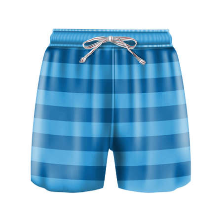 3d realistic vector man boxer swimsuit in stripes blue. Isolated on white background.