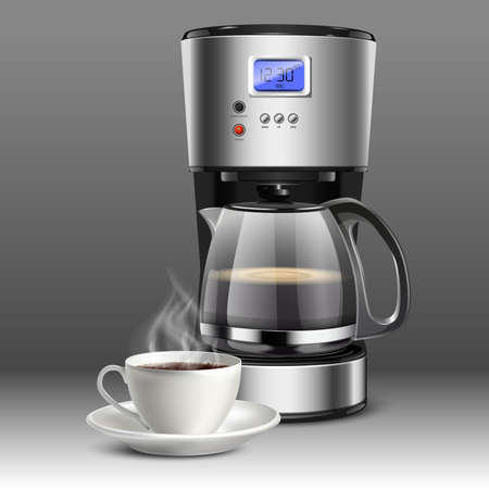 realistic vector illustration of a coffee machine with white coffee cup on a gray background.