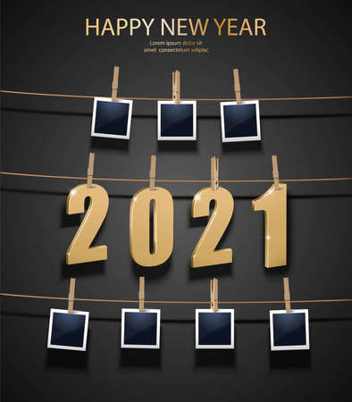 New Year background with golden 3d letters 2021 and photo frames hanging on the memory board. Celebration background.