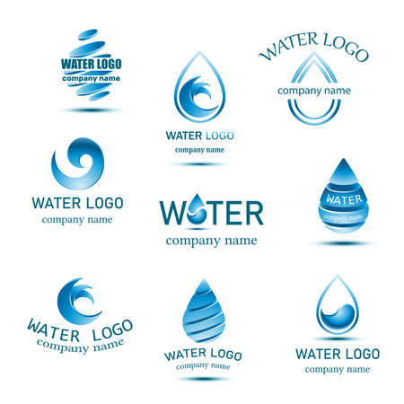 blue mineral water logo collection with drops and waves.