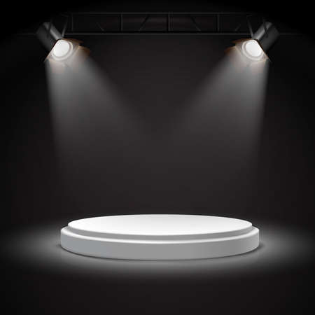 3d realistic vector spot lights on round white podium in the darkness.