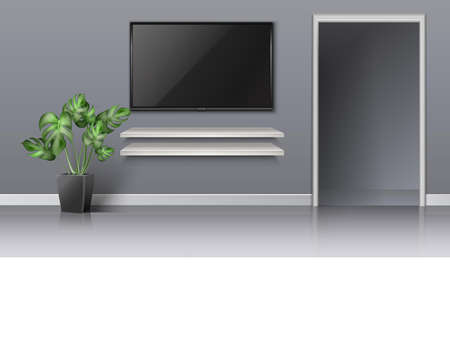 3d realistic vector living room with open door and black screen on the wall with white book shelves and floor plant.