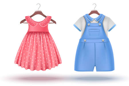 3d realistic vector set of baby girl and baby boy clothes on a hanger. Pink dress and blue romper. Isolated on white background.