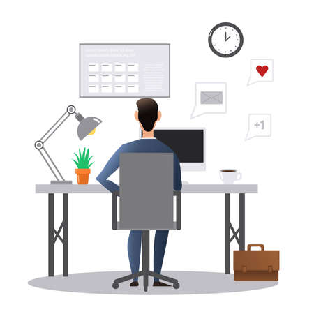 Vector cartoon style drawn illustration of man at the desk working in the office. Ilustração Vetorial