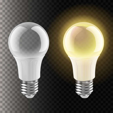3d realistic vector icon illustration of light bulb without and with light. Isolated on transparent background.
