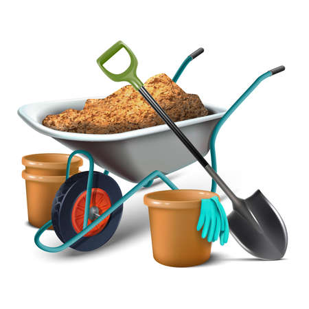 3d realistic vector icon set collection of gardening tools for planting. Isolated on white background. Vektorové ilustrace