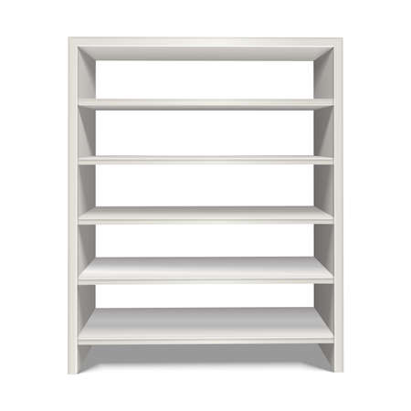 3d realistic vector shelf stand in white color from front view. Isolated on white background. Vektoros illusztráció