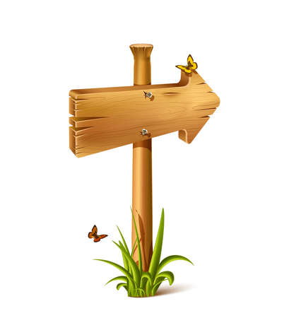 Vector cartoon wooden rustic sing in arrow of direction. Old, retro banner with metal nails for messages or pointers for path finding with stones and grass around and realistic shadow.
