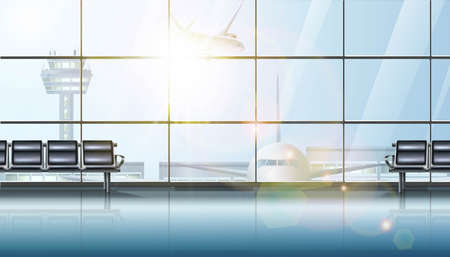 3d realistic vector airport terminal waiting area interior, with big windows and airplane and chairs for waiting.