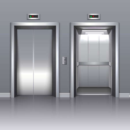 3d realistic vector office building elevator with closed or open doors.