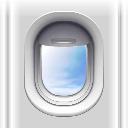3d realistic vector airplane window. Isolated on white background.