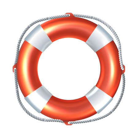 3d realistic vector icon illustration of striped life raft. Isolated on white background.