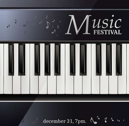 3d realistic vector music festival poster piano with keyboard black and white.