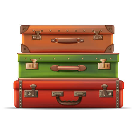 3d realistic vector collection of different sizes travel luggage, retro old style in leather. Isolated on white background.