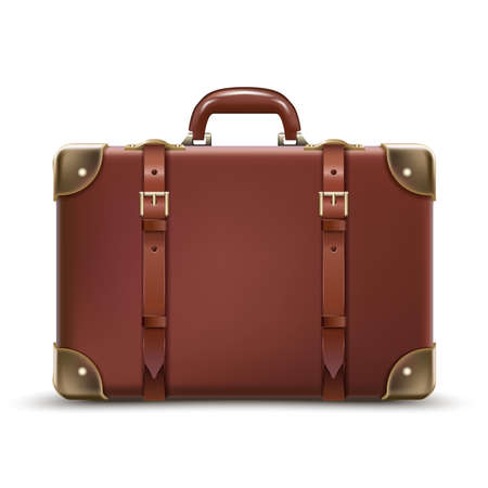 3d realistic vector travel business brown luggage in leather. Isolated on white background.