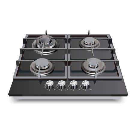 3d realistic vector kitchen appliance, gas cooking surface.