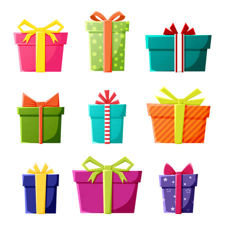 Vector set of gift boxes icons in color for New Year, Christmas or celebration party events. Vector Illustratie