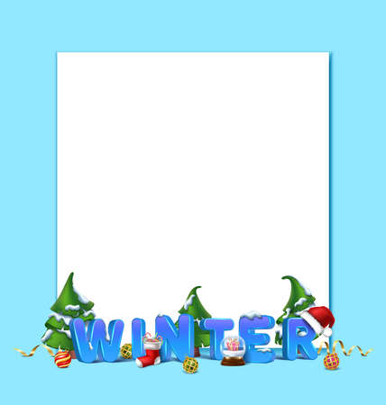 Vector realistic Christmas and New Year background, banner, flyer, greeting card, postcard. Horizontal orientation. 3d letters winter with snow and trees and copy space. Иллюстрация