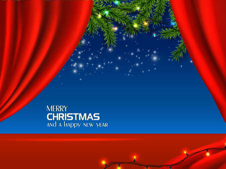 Vector realistic Christmas and New Year background, banner, flyer, greeting card, postcard. Red background with blue dark sky with stars and fir tree.