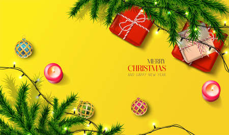 Vector realistic Christmas and New Year background, banner, flyer, greeting card, postcard. Square orientation. Yellow background with gift boxes and fir tree with lights.