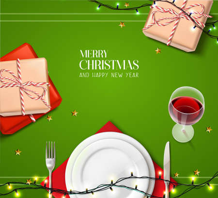 Vector realistic Christmas and New Year background, banner, flyer, greeting card, postcard. Horizontal orientation. Celebration table with plates and wine with gifts on top view. Иллюстрация