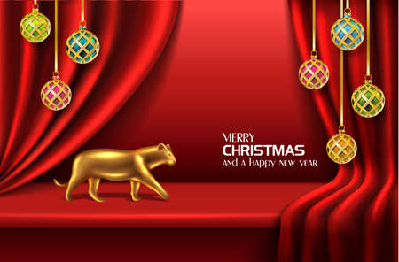 Vector realistic Christmas and New Year background, banner, flyer, greeting card, postcard. Red background with balls and golden tiger. Иллюстрация