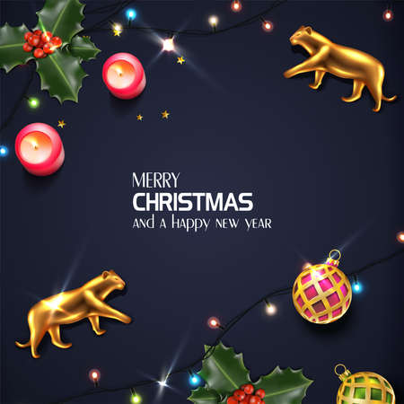 Vector realistic Christmas and New Year background, banner, flyer, greeting card, postcard. Square orientation. Black background with golden tigers and mistletoe and lights.