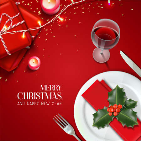 Vector realistic Christmas and New Year background, banner, flyer, greeting card, postcard. Square orientation. Red background table with plates, dinner set with gifts. Иллюстрация