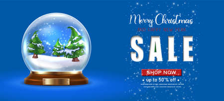 Vector realistic Christmas and New Year background, banner, flyer, greeting card, postcard. Horizontal orientation. Snow globe with trees on a blue background with Christmas sale.
