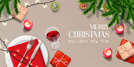 Vector realistic Christmas and New Year background, banner, flyer, greeting card, postcard. Horizontal orientation. Celebration table top view with gifts and plates.