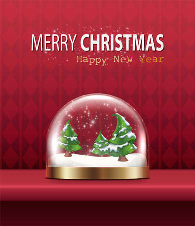 Vector realistic Christmas and New Year background, banner, flyer, greeting card, postcard. Vertical orientation. Red background with glass snow globe with trees. Иллюстрация
