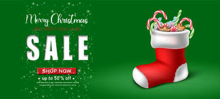 Vector realistic Christmas and New Year background, banner, flyer, greeting card, postcard. Horizontal orientation. Green background sale with red sock with candies inside.