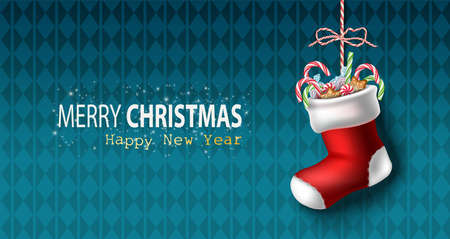 Vector realistic Christmas and New Year background, banner, flyer, greeting card, postcard. Horizontal orientation. Blue background with red sock with candies inside hanging.