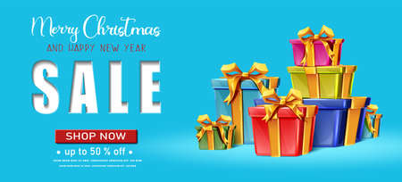 Vector realistic Christmas and New Year background, banner, flyer, greeting card, postcard. Horizontal orientation. Blue background with sale writing and colorful stack of gift boxes. Иллюстрация